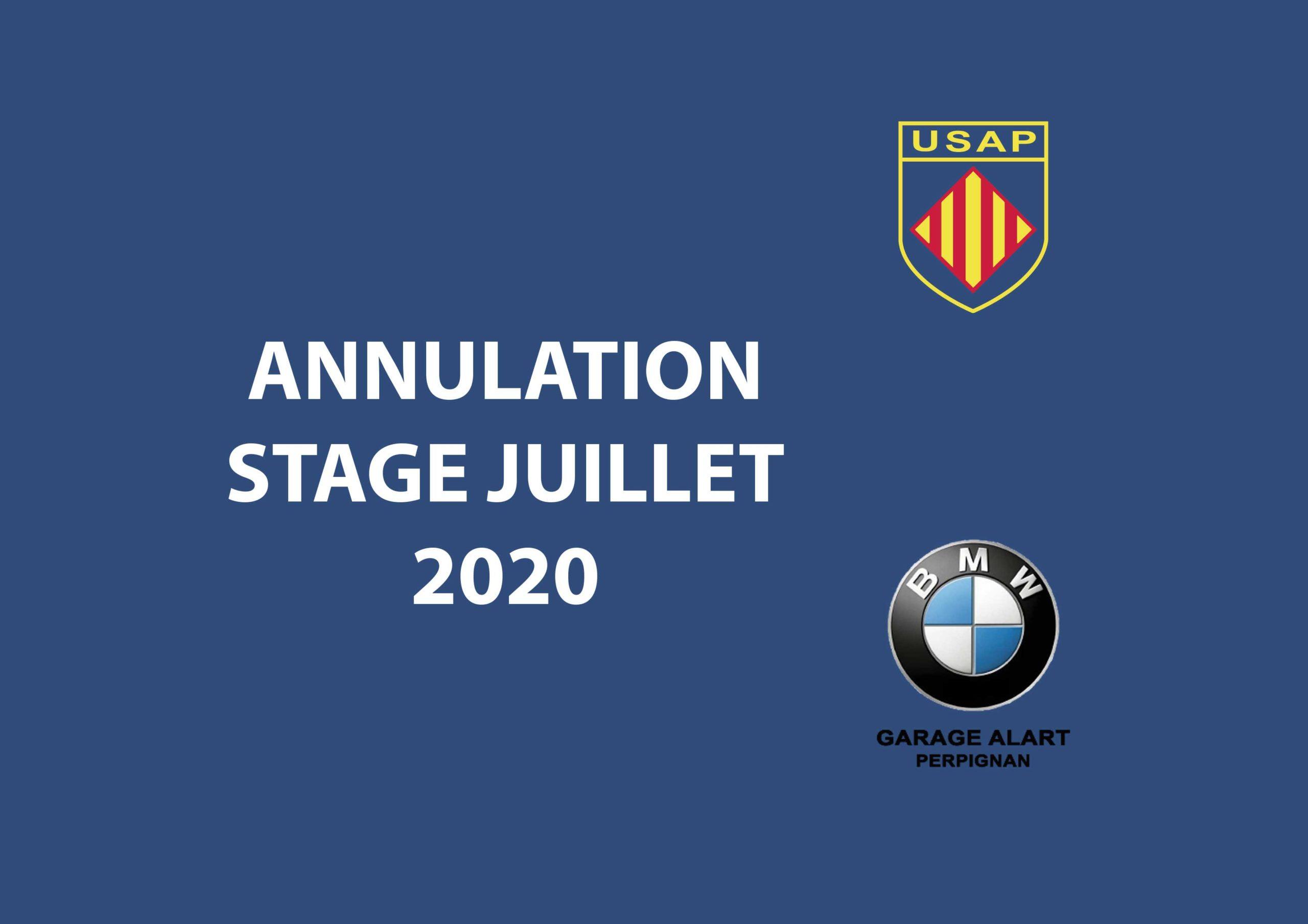 ANNULATION STAGE JUILLET 2020